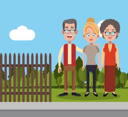 wheel guard: family members fence landscape vector illustration eps 10