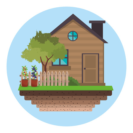 house with fence tree garden vector illustration eps 10 Illustration