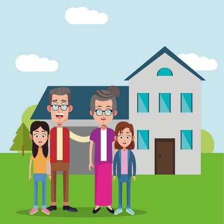grandparents with girls house bakcground vector illustration eps 10