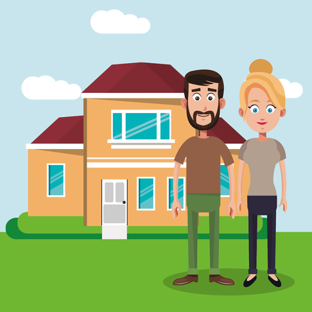 couple with house home image vector illustration eps 10 Illustration