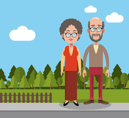 couple man and woman yard fence trees vector illustration eps 10 Illustration