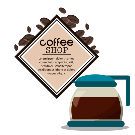 cosily: coffee shop glass pot poster vector illustration eps 10