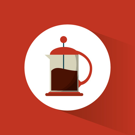 nontraditional: french press coffee glass vector illustration eps 10
