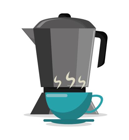 illustrazione calda ENV 10 di vettore della caffettiera e della tazza del caffè Vettoriali