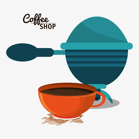 coffee shop with filter and cup vector illustration eps 10