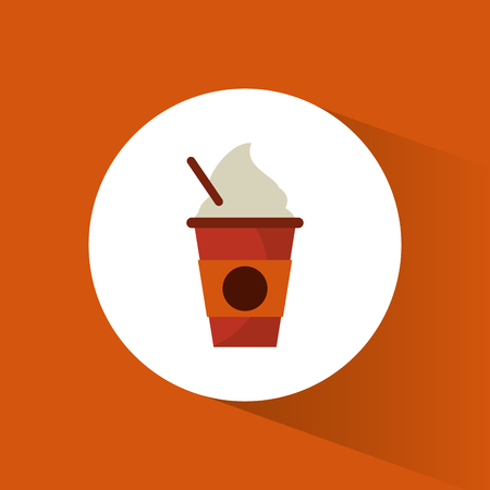 ice coffee fresh straw cream vector illustration eps 10 Illustration