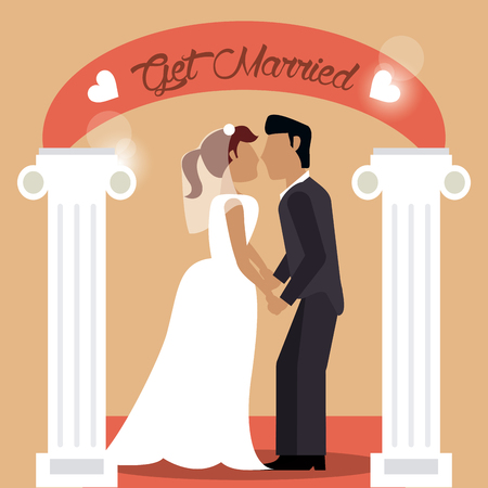 get married couple holding hand love vector illustration eps 10