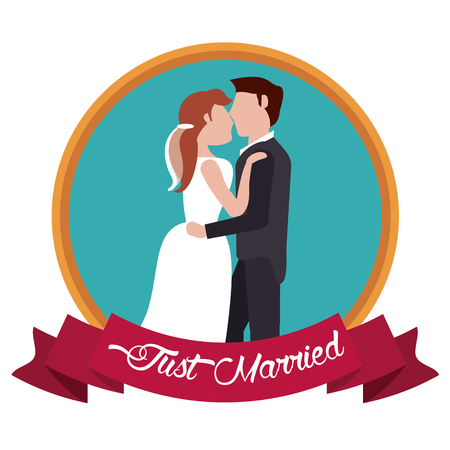 just married kissing couple label vector illustration eps 10