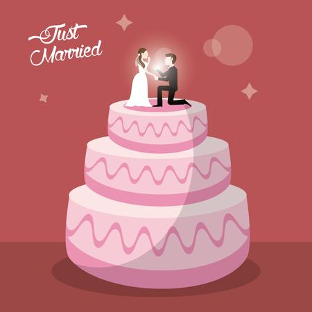 just married cake dessert vector illustration eps 10 Illustration