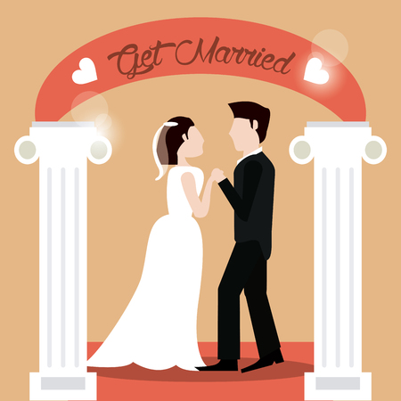 get married couple holding hands beautiful vector illustration eps 10