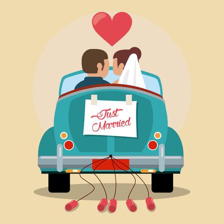 Gerade verheiratetes Paar in der Liebe Auto Vektor-Illustration eps 10