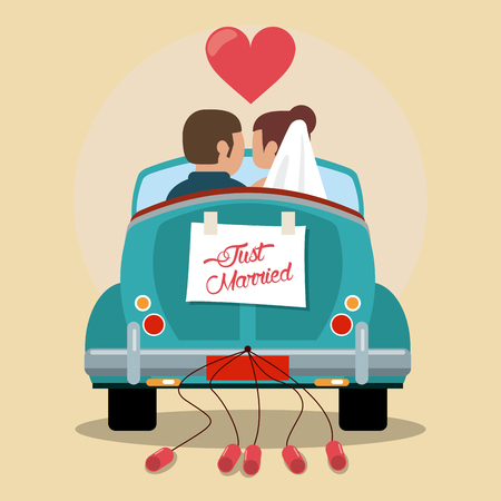 just married couple in love car vector illustration eps 10