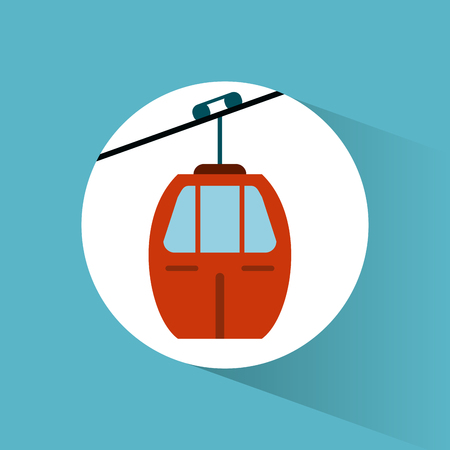 Sky cable car transport vehicle image vector illustration