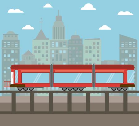 Train transport city night vector illustration Illustration