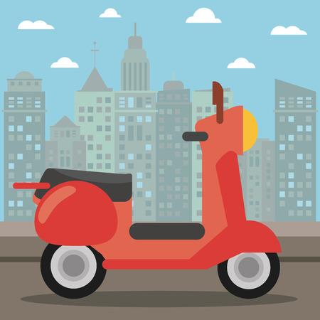 scooter transport city night vector illustration eps 10