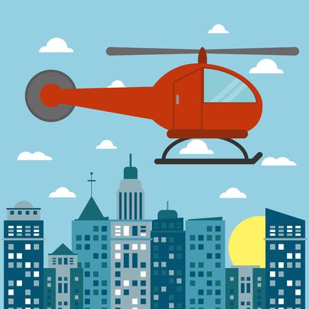pilot  cockpit: helicopter transport city sun vector illustration eps 10 Illustration