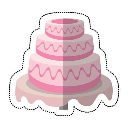 Ilustración de vector de postre dulce torta de boda Vectores