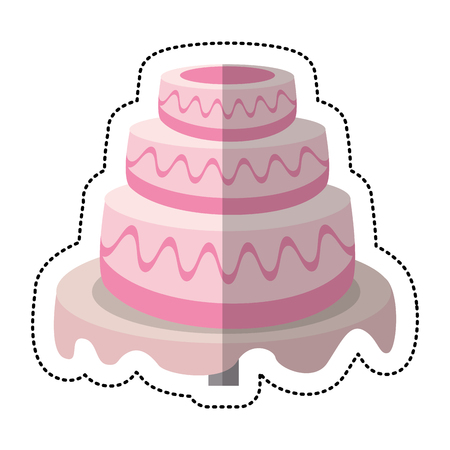 Wedding cake sweet dessert vector illustration