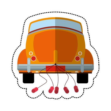 tincan: Car just married transport vector illustration