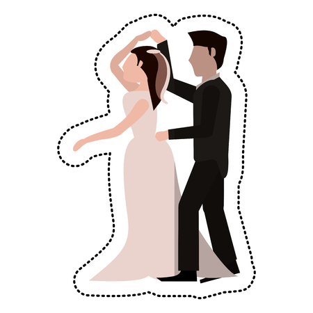 Just married couple dancing together vector illustration