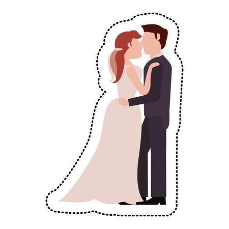 embracement: Couple embrace just married vector illustration