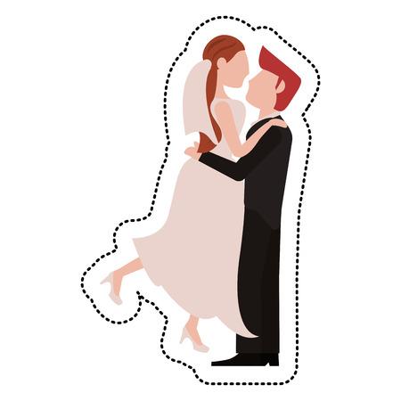 GrooM lifting bride romantic vector illustration