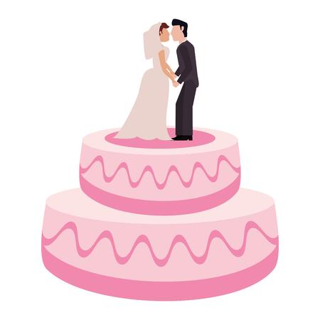 Pastel de bodas con la ilustración de vector de pareja dulce topper