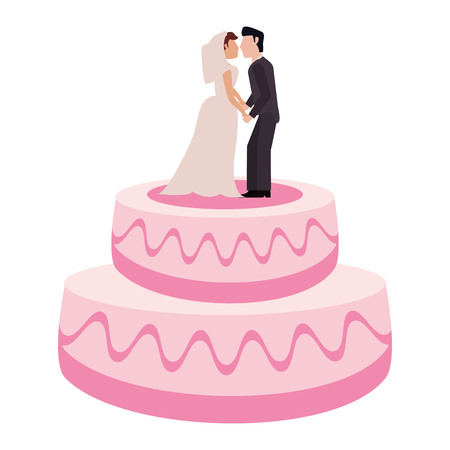 Wedding cake with sweet couple topper vector illustration Illustration