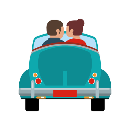 Romantic couple driving car vector illustration