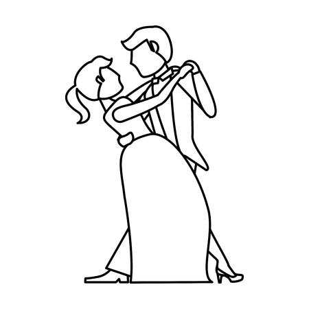 Paar Hochzeit tanzen Umriss Vektor-Illustration eps 10