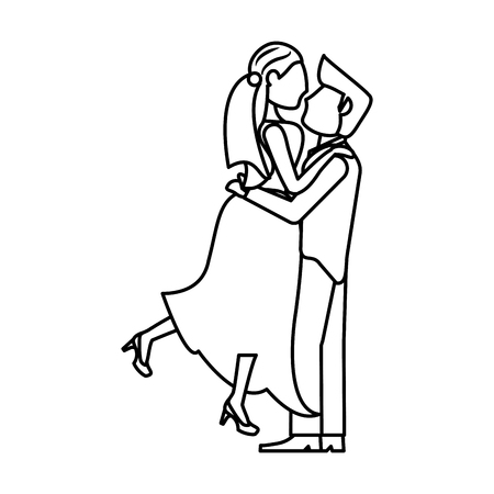 couple wedding together romantic outline vector illustration eps 10
