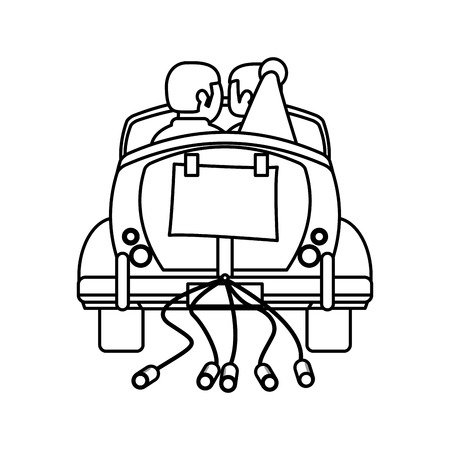 couple car just married outline vector illustration eps 10