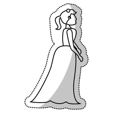 woman bride wedding outline vector illustration eps 10
