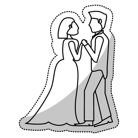 couple wedding olding hands romantic outline vector illustration eps 10