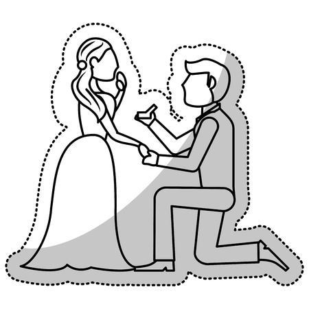 couple wedding proposal romantic outline vector illustration eps 10 Illustration