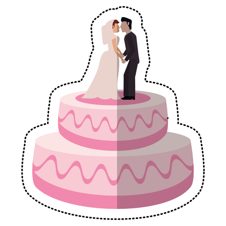 sweet cake wedding with couple vector illustration eps 10