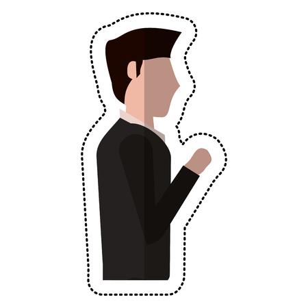 cowardice: profile groom man wedding vector illustration eps 10