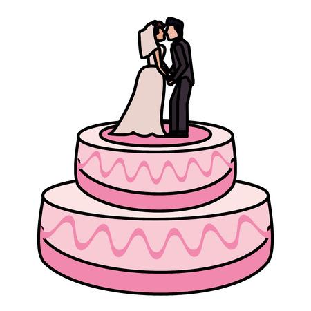 wedding cake couple dessert vector illustration eps 10 Illustration