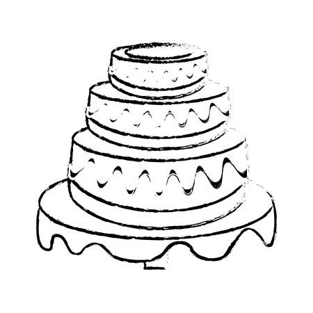 wedding cake dessert sketch vector illustration eps 10