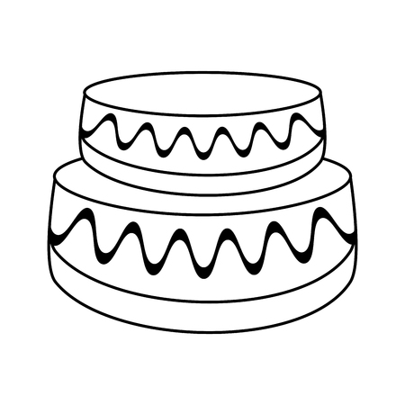 wedding cake dessert outline vector illustration eps 10