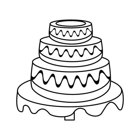 wedding cake dessert outline vector illustration eps 10 Illustration