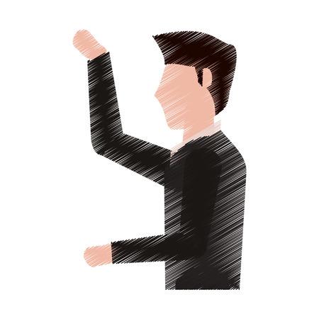 tailored: drawing man groom image vector illustration eps 10 Illustration