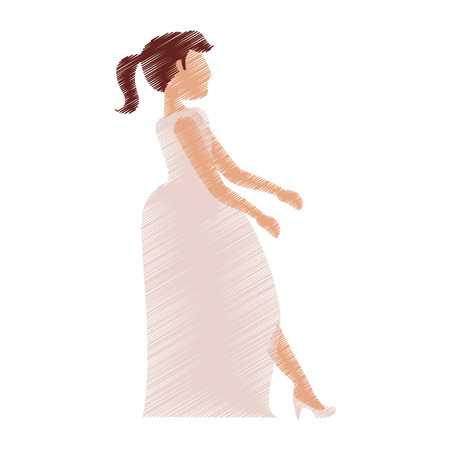drawing bride woman beautiful vector illustration eps 10