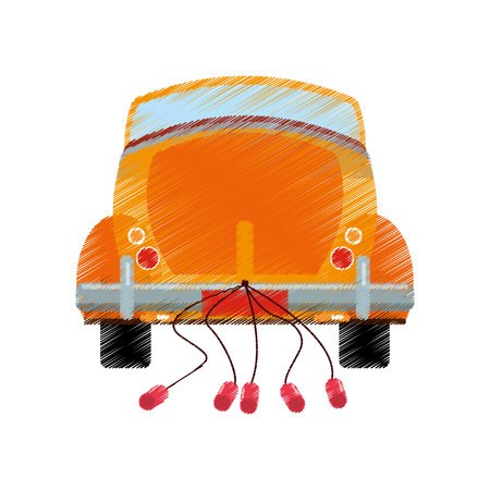 drawing car classic wedding vector illustration eps 10