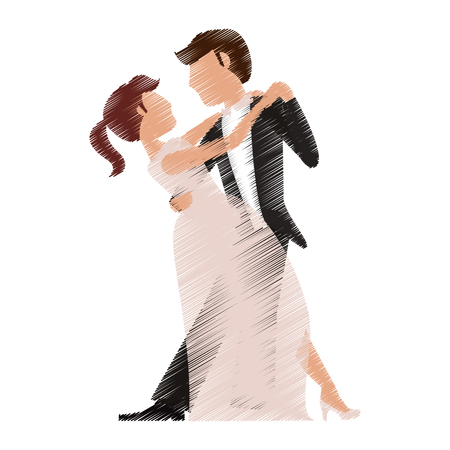 drawing couple romantic wedding dresses vector illustration eps 10 Illustration