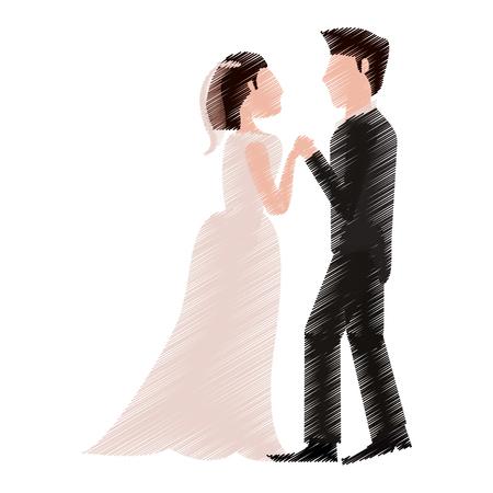dibujo pareja romántica vestidos de boda ilustración vectorial eps 10