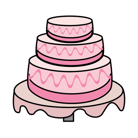 wedding table setting: cake wedding dessert image vector illustration eps 10 Illustration