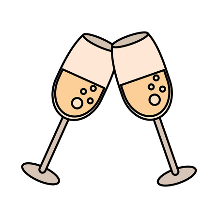 wedding table setting: glass cup celebration wedding vector illustration eps 10