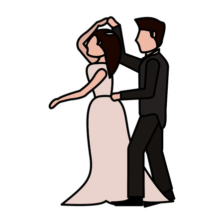 couple romantic wedding dresses vector illustration eps 10 Illustration