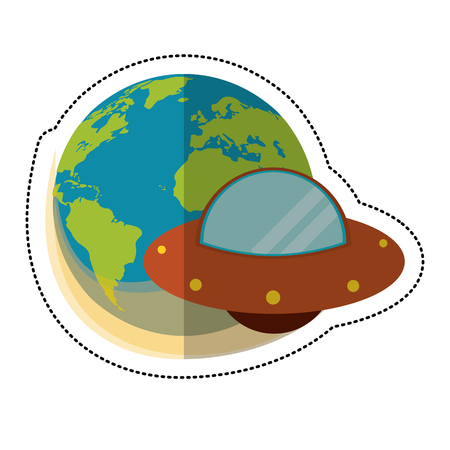 earth UFO space galaxy vector illustration